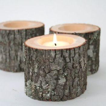Theelichthouder hout - boomstam