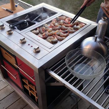 Mobiele keuken met gaspitten en teppanyaki-plaat