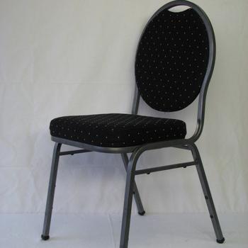 Luxe stapelstoel zwarte stoffe zitting en zwarte rug